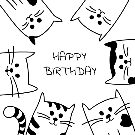 Set Of Four Greeting Cards Or Templates Cartoon Black And White