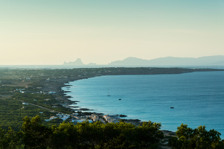 View of the island of Formentera from the elevated viewpoint of La Mola Stok Fotoğraf