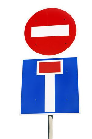 sign  travel is prohibited, deadlock, isolated on a white background