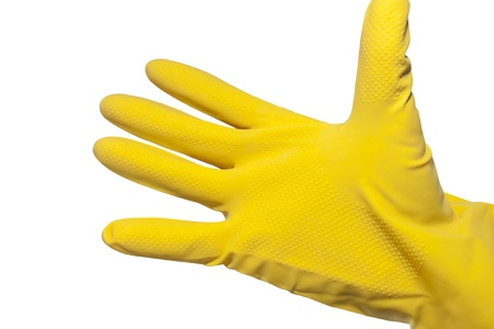 hand in robber glove isolated on white background photo