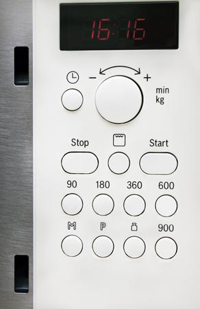 control panel: Panel de control para el horno microondas Foto de archivo