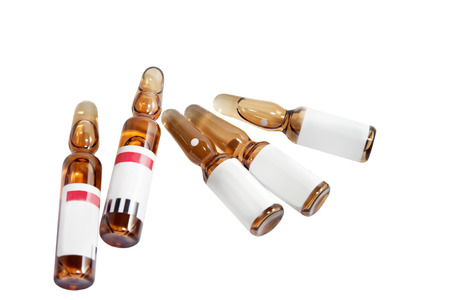 phial: ampoules with medicine isolated on a white background
