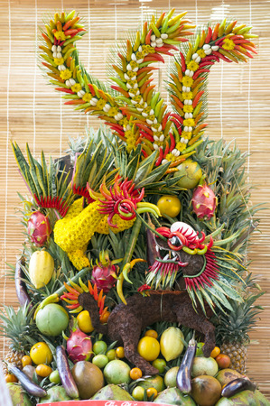 Fruits and vegetables in Vietnam. art installation photo