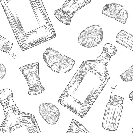 Tequila seamless pattern. Shot glass and bottle tequila, salt, lime. Engraving vintage style. Vector illustration.