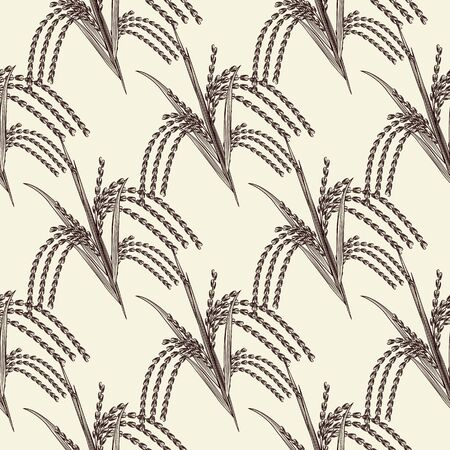 Hand drawn rice grain seamless pattern. Rice ear wallpaper. Engraving vintage style backdrop. Design for wrapping paper, textile print. Vector illustration