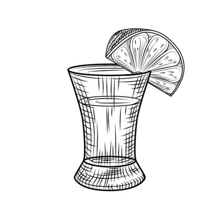 Tequila shot and slice lime isolated on white background. Full shot glass of alcohol. Vintage engraved style. Vector illustration