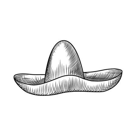 Hand drawn sombrero hat isolated on white background. Vintage engraved style. Vector illustration