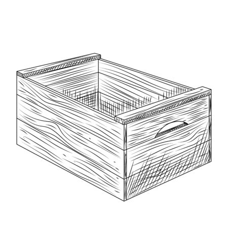 Wooden box isolated on white background. Vintage engraved style. Vector illustration