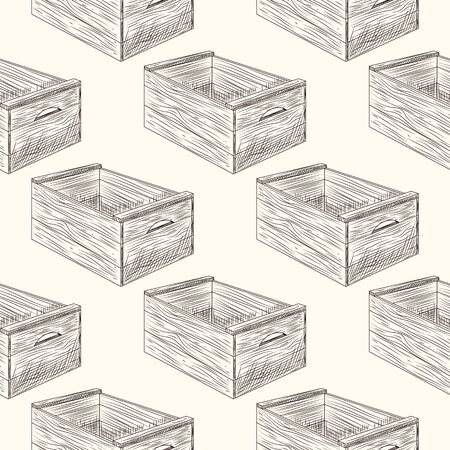 Wooden box seamless pattern. Vintage engraved style. Vector illustration