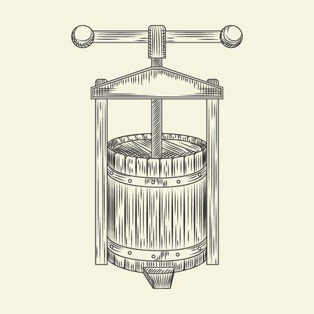 Wooden wine press. Grape press sketch. Cider making vintage engraved style. Vector illustration. Ilustración de vector