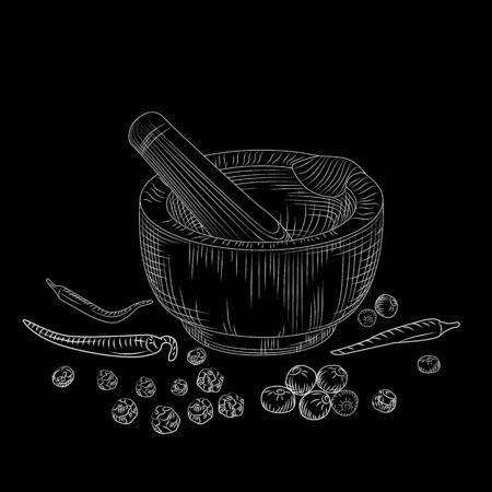 Mortar and pestle concept on blackboard. Pepper set. Grinding spices and food ingredients. Vintage engraved style. Vector illustration