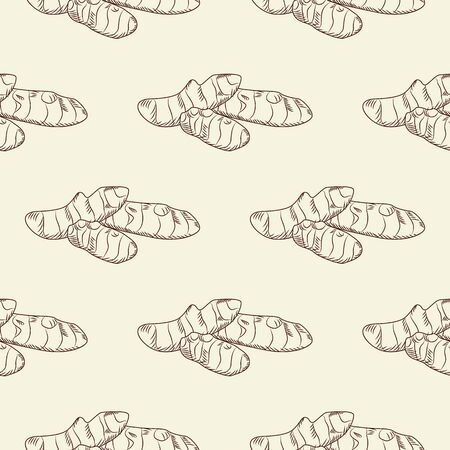 Hand drawn ginger root seamless pattern. Ginger wallpaper. Engraving vintage style backdrop. Design for wrapping paper, textile print. Vector illustration Vettoriali