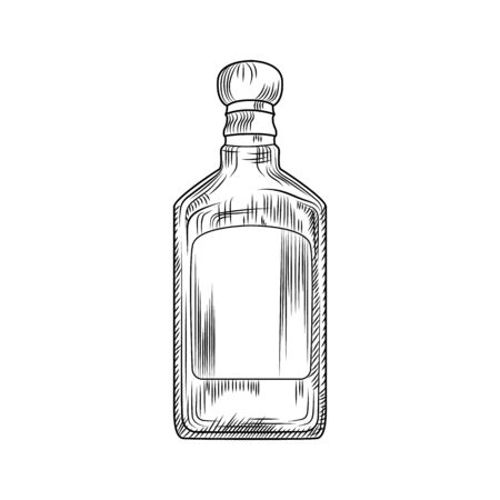 Tequila bottle isolated on white background. Traditional Mexican alcoholic drink. Vintage engraved style. Hand drawn design. Vector illustration.