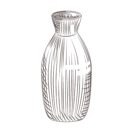 Japanese sake isolated on white background. Ceramic bottle sake hand drawn sketch. Traditional asian rice alcohol drink. Engraving vintage style. Vector illustration.