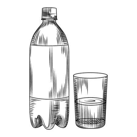 Hand drawn plastic bottle isolated on white background. Engraving vintage style. Vector illustration. Ilustração