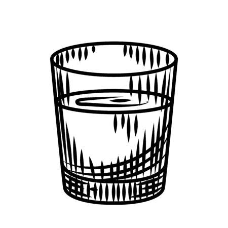 Doodle vodka shot isolated on white background. Full shot glass of alcohol. Bar menu design. Transparent drink glass.Vintage engraved style. Vector illustration