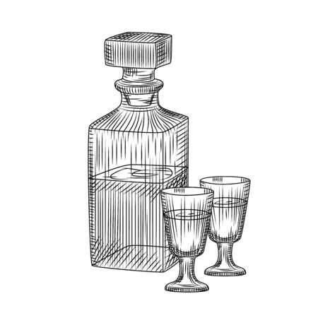 Hand drawn alcohol crystal glass decanter and two full shot glass sketch isolated on white background. For bar menu, cards, posters, prints, packaging. Engraving style. Vector illustration Stock Illustratie
