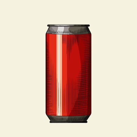 Hand drawn red beer can template. Beverage can isolated on light background. Design for pub menu, cards, posters, prints, packaging. Vintage engraved style vector illustration Vectores