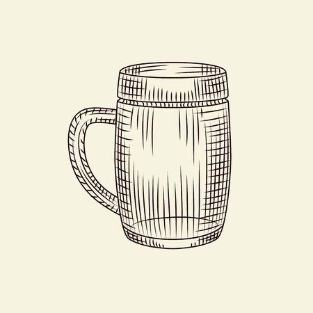 Glass of beer isolated vector vintage illustration. Hand drawn beer mug in sketch style. Engraving style. For menu, cards, posters, prints, packaging.