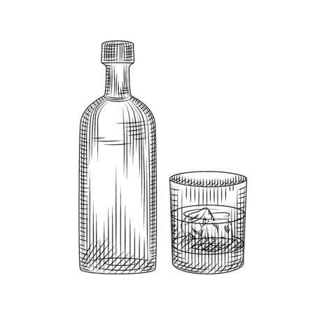 Vodlka bottle and glass isolated on white background. Hand drawn alcoholic cocktail with ice in rocks glass. Engraved style. For pub menu, cards, posters, prints, packaging. Vector illustration Ilustrace