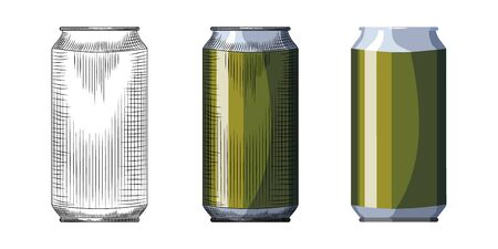 Hand drawn beer can template. Beverage green can isolated on white background. Vintage engraved style vector illustration. For pub menu, cards, posters, prints, packaging.
