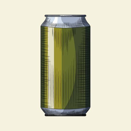 Hand drawn beer can template. Beverage green can isolated on light background. For pub menu, cards, posters, prints, packaging. Vintage engraved style vector illustration