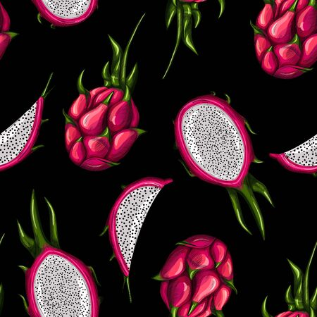 Sweet red dragon fruit seamless pattern on black background. Whole, half and slice. Tropical fruits wallpaper. Design for wrapping paper, textile print. Vector illustration Stock Illustratie