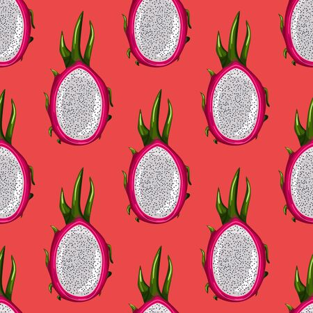 Geometric seamless pattern with half red dragon fruit on bright background. Exotic tropical pitayas wallpaper. Design for wrapping paper, textile print, fabric. Vector illustration
