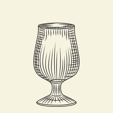 Vintage empty glass. Ink hand drawn glass of beer sketch isolated on light background. Engraving style vector illustration. For menu, cards, posters, prints, packaging. Çizim