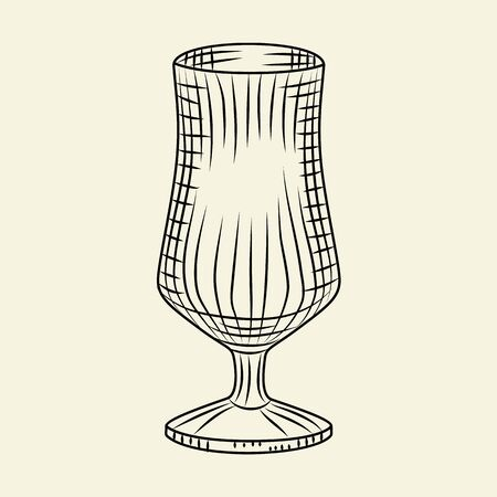 Ink hand drawn empty beer glass. Vintage glass of beer sketch isolated on light background. Engraving style. For menu, cards, posters, prints, packaging. Vector illustration