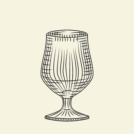 Empty glass of beer isolated on light background. Hand drawn beer glass. Engraving style. For menu, cards, posters, prints, packaging. Sketch style vector illustration Çizim