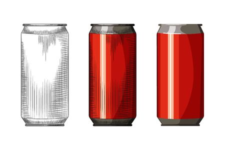 Beverage red can isolated on white background. Hand drawn beer can template. Vintage engraved style vector illustration. Design for pub menu, cards, posters, prints, packaging.