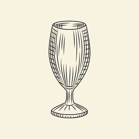 Hand drawn empty beer glass. Vintage glass of beer isolated on light background. Engraving style. For menu, cards, posters, prints, packaging. Sketch style vector illustration Çizim