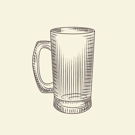 Transparent beer mug in hand drawn style isolated on light background. Glass of beer vector vintage illustration. Engraving style. For menu, cards, posters, prints, packaging.