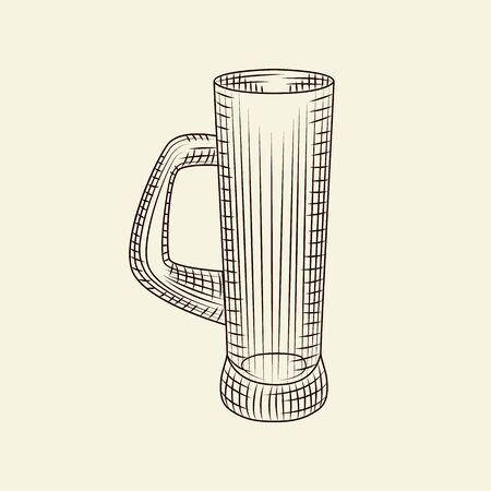 Hand drawn beer mug. Empty glass of beer isolated on light background. Engraving style. For menu, cards, posters, prints, packaging. Sketch style. Vector vintage illustration Çizim