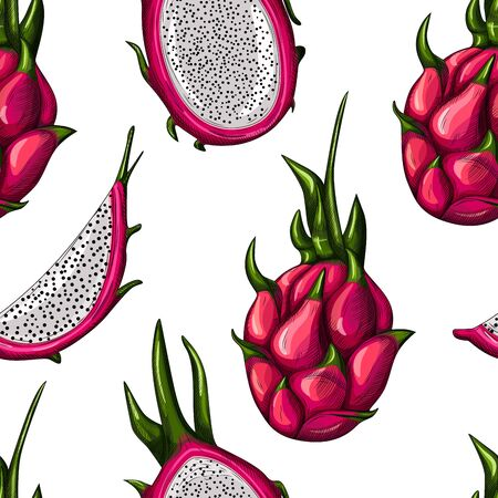 Geometric red dragon fruit seamless pattern on white background. Whole, half and slice. Tropical fruits wallpaper. Design for wrapping paper, textile print, fabric. Vector illustration
