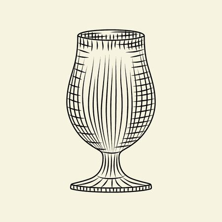 Ink hand drawn empty glass. Vintage  glass of beer sketch isolated on light background. Engraving style. For menu, cards, posters, prints, packaging. Vector illustration 일러스트