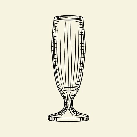 Empty  glass of beer isolated on light background. Hand drawn beer glass. Engraving style. For menu, cards, posters, prints, packaging. Sketch style vector illustration