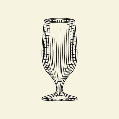 Hand drawn beer glass. Glass of craft beer isolated on light background. Engraving style. For menu, cards, posters, prints, packaging. Sketch style vector illustration