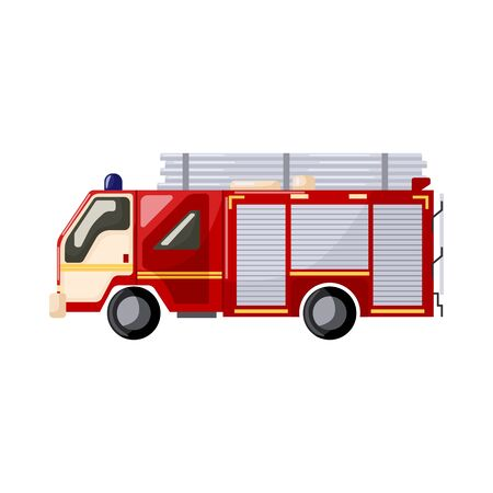 Fire-fighting vehicle isolated on white background. Fire truck rescue engine transportation in flat style. Vector illustration Stock Illustratie