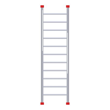 Metal ladder in flat design on white background. Step ladder icon. Vector illustration Illustration