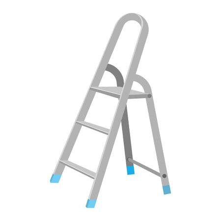Aluminum step ladder in flat design on white background. Household metal ladder symbol. Vector illustration Illustration