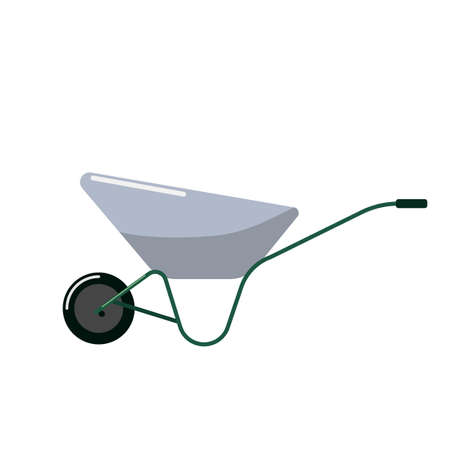 Wheelbarrow in flat design on white background. Garden equipment tool. Vector illustration