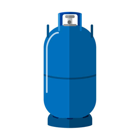 Long gas cylinder isolated on white background. High canister fuel storage. Blue propane bottle with two handle icon container in flat style vector illustration. Vectores
