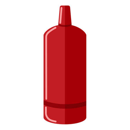 Gas cylinder isolated on white background. Red propane bottle icon container in flat style. Contemporary canister fuel storage vector illustration.