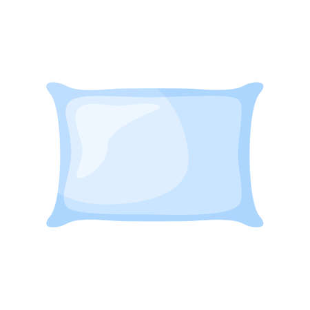 Light blue pillow for sleep on white background. Soft elements bedtime for lifestyle in style flat vector illustration. Vector Illustration