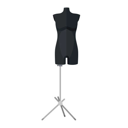 Sartorial mannequins long in black are isolated on a white background. Mannequins form the body of a woman. Silhouette of a person in the style of a flat vector illustration.