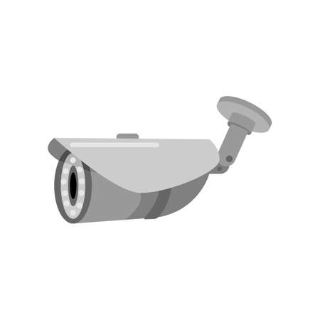 Oval gray security camera on a white background. Surveillance equipment for protection, security and surveillance, vector illustration in flat design style