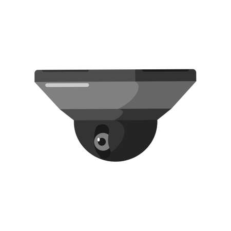Black short CCTV camera on white backdrop. Equipment surveillance for protection, safety and watching, vector illustration in style flat design.