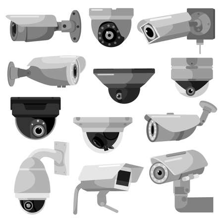 Set CCTV camera on white backdrop. Equipment surveillance for protection, safety and watching, vector illustration. Security camera in style flat design. 向量圖像